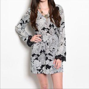 || SALE || Black & Grey Lace Trim Dress ||  M